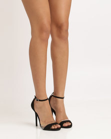 Utopia Wild Diva Microfibre Heeled Sandals Black