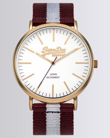 Superdry Oxford Stripe Nylon Watch Red/White