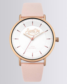 Superdry Oxford Pastel Leather Strap Watch Pearlised Pink