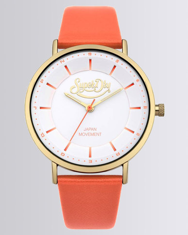 Superdry Oxford Pastel Leather Strap Watch Pearlised Coral