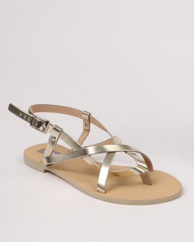 Utopia Strappy Leather Sandal Gold