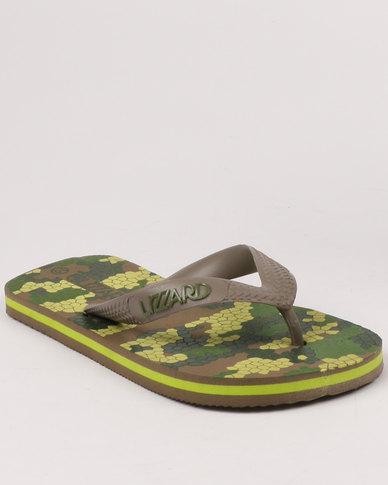 Lizzard Boys Teen Barrack Flip Flops Olive