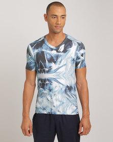 Jockey David Tlale Short Sleeve Undershirt Twilight Print Blue