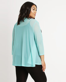 Queenspark Plus New Styled Mesh Knit Jacket Aqua