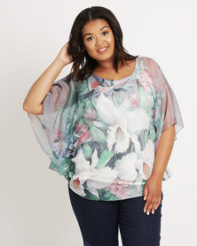 Queenspark Plus Big Floral Woven Blouse Multi