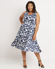 Queenspark Plus Flared Floral Knit Dress Blue