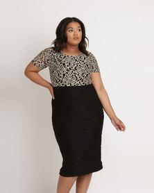 Queenspark Plus Stretch Lace Knit Dress Black