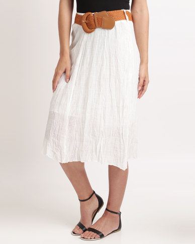 Miss Cassidy Woven Skirt With Belt Cream