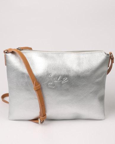 4dec0951a Julz Monique Leather Crossbody Bag Silver | Zando