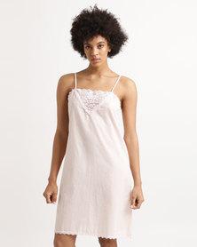 Poppy Divine Cotton Chemise With Lace Blush