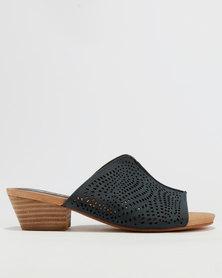 Shoe Art Heidi Block Heel Mule Navy