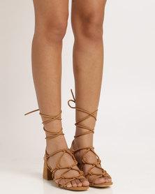 Public Desire Freya Strappy Heeled Sandal Tan