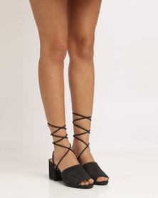 Public Desire Paddington Strappy Heeled Sandal Black