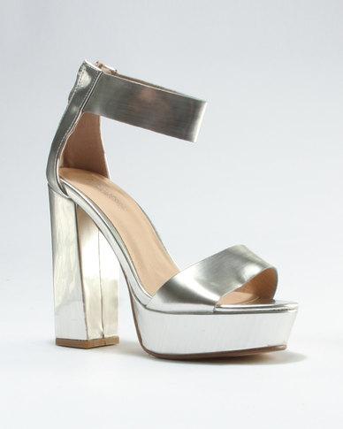 056be877e93 Public Desire River Platform Heeled Sandal Silver