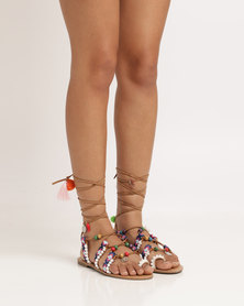 Miss Black Antarctica Beaded Flat Sandal Tan