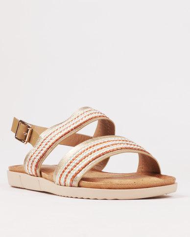 Butterfly Feet Helena Beaded Flat Sandal Gold