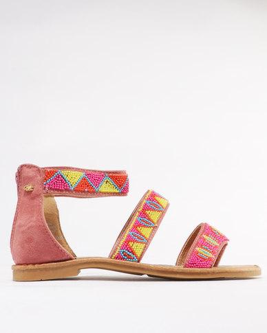 Miss Black Dart Beaded Flat Sandal Pink