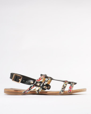 Miss Black Korhaan Flat Sandal Black