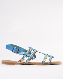 Miss Black Korhaan Flat Sandal Blue