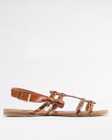 Miss Black Korhaan Flat Sandal Tan