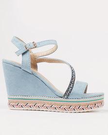Miss Black Skipjack Wedge Sandal Blue