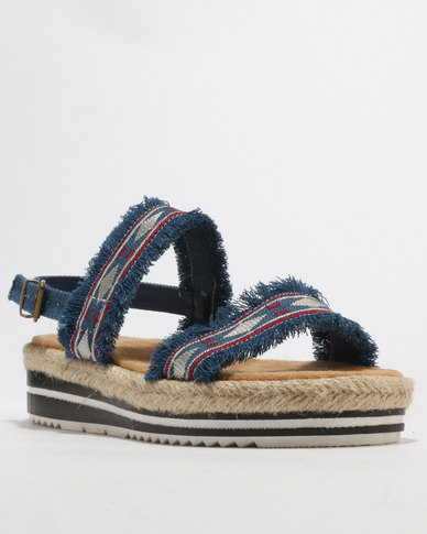 Footwork Taraji Flat Sandal Blue Denim