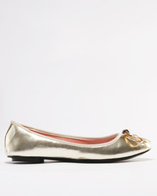 Utopia Metal Bow Ballet Point Pump Gold