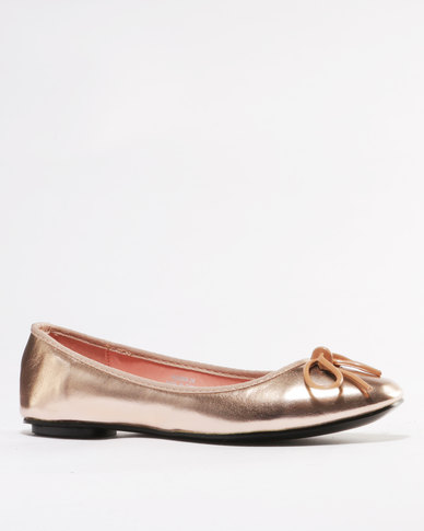 Utopia Metal Bow Ballet Point Pump Rose Gold
