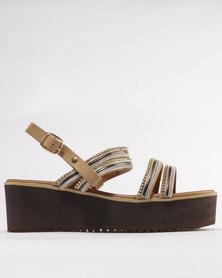 Utopia Trimmed Flatform Sandal Tan