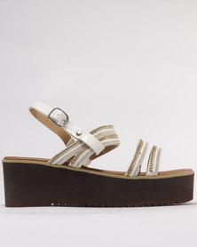 Utopia Trimmed Flatform Sandal White