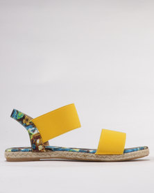 Utopia Printed Elastic Sandals Yellow