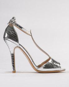 Utopia Metallic Heel Sandals Silver