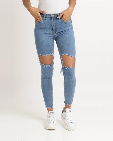 Unseen Madison Rip & Repair Skinny Jeans Light Blue