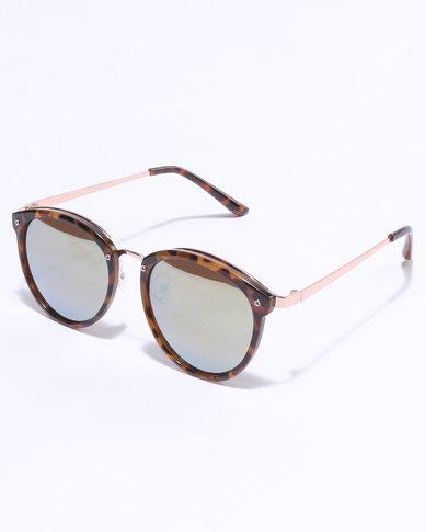 21327bff577 New Look Cali Preppy Mirrored Sunglasses Tortoise Shell Brown
