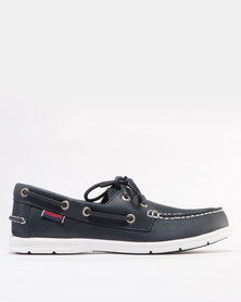 Sebago Leather Litesides Two Eye Casual Shoes Navy