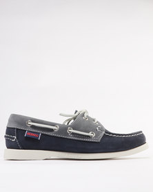 Sebago Leather Spinnaker Casual Shoe Navy Lagoon