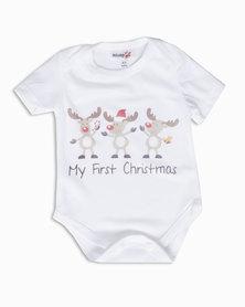 Moederliefde My First Christmas Short Sleeve Bodyvest White