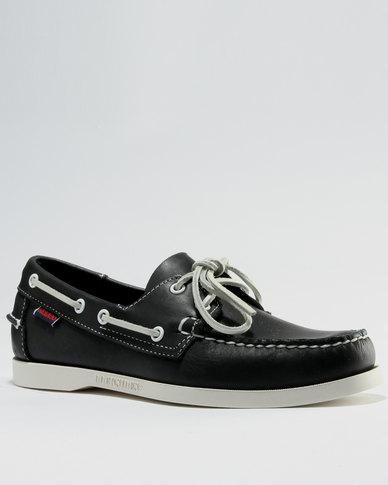 Sebago Leather Docksides Shoes Blue Nite