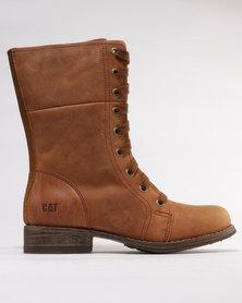 Caterpillar Narcissa Fur Leather Mid Calf Boots Brown