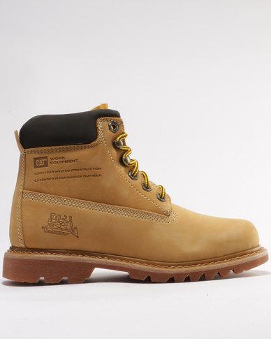 Caterpillar Bruiser Leather Casual Boots Honey Nubuck Zando