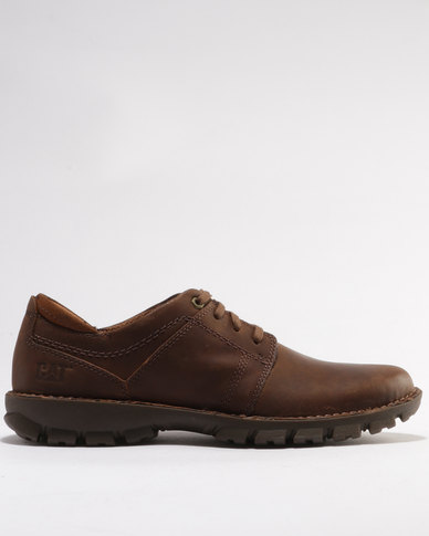 Caterpillar Caden Leather Casual Shoe Chocolate Brown Zando
