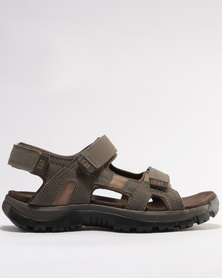 Caterpillar Giles Leather Sandals Worn Brown