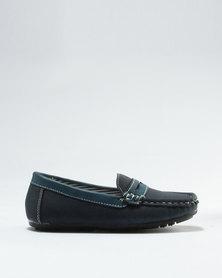 Rock & Co Boys Vageta Slip On Formal Shoe Navy