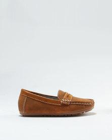 Rock & Co Boys Vageta Slip On Formal Shoe Tan