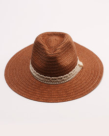 Utopia Lace Trim Straw Hat Brown