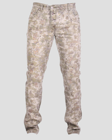 Bogart Man Classic Camouflage Denim Jeans Green