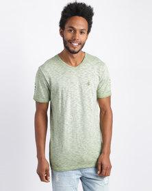 Urban Art Printed V-Neck T-Shirt Olive