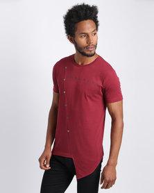 Urban Art Asymmetrical T-Shirt Burgundy