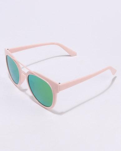 You & I Plastic Aviators Pink Frame Mirror Lens Sunglasses Green