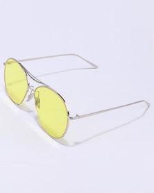 You & I Shiny Silver Frame Tint Lens Yellow